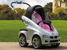 BMW Stroller Is driving an expensive car while wearing expensive clothes and pricey jewelry not enough of a show of wealth for you? Then you need to make sure your kid is strolling in style with this BMW Stroller, the ultimate show of infantile decadence. Bmw Autos, Baby Prams, Baby Carriage, Cool Inventions, Baby Inventions, Everything Baby, Cool Baby Stuff, Babies Stuff, Baby Gear