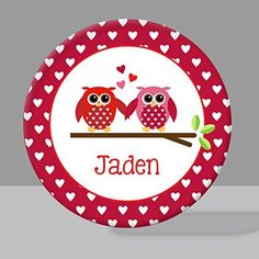 Valentine Owls Melamine Bowl or Plate Custom Personalized with Childs Name. This adorable Valentine Owls design is available in a plate, bowl, or set. Great for any day of the year or just for Valentine's Day! Bowls are 20 oz., plates measure 10 inches. Both are made from melamine, are non-toxic, bpa-free, dishwasher safe, and made for everyday use. Illustrations are by BitsyCreations. Choose plate or bowl--or grab a set and save! Your choice to put a name or not. Please be sure to...