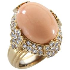 French Coral Diamond Yellow Gold Ring | From a unique collection of vintage dome-rings at https://www.1stdibs.com/jewelry/rings/dome-rings/