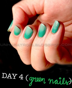 ombre nails - green