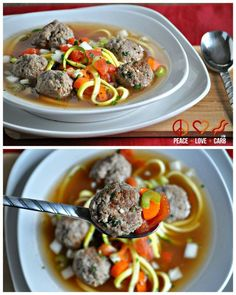 """Italian Meatball """"Zoodle"""" Soup 