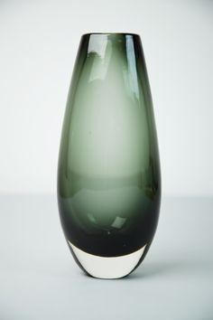 Whitefriars Dark Green Coloured Glass Vase designed by Geoffrey Baxter. Circa 1960's.
