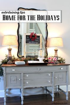 Holiday Entertaining -Tips for easy entertaining, budget friendly decor and a stress free get toghether Furniture Makeover, Diy Furniture, Laminate Furniture, Furniture Refinishing, Repurposed Furniture, Painted Furniture, Dining Room Buffet, Buffet Hutch, Shabby