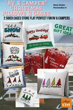 Great gift ideas for the RV owner include 2 sided easy to store flat decorations like pillow cases like these! Buy one pillow and several cases & you can change our your decor with the holidays for less money & be able to store them within the camper too! Many styles to chose from! #rvpillows #rvdecor #rvholidaypillows #plaidpillows #christmaspillows #rvideas #rvgear #rvaccessories #campingpillows #glampinggear #etsy #christmastrends #holidaypillowcases #affiliate #shopsmall #trending2020