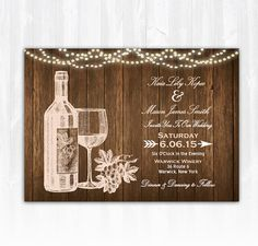 Wine Wedding Invitation DIY PRINTABLE Digital File or Print (extra) Wood Wedding Invitation String Lights Wedding Vineyard Wedding