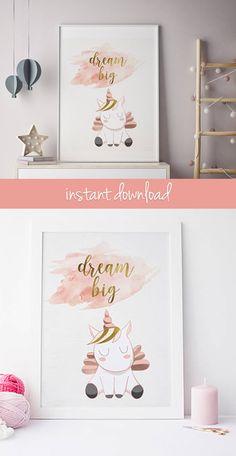 pink and gold nursery wall art, unicorn nursery decor, unicorn party decoration idea, unicorn room decoration, dream big little one wall art #unicorn #wallart #printable #ad