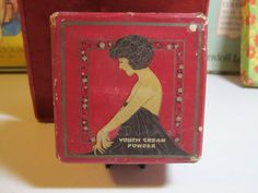 Art Deco face powder 1920's Edna Wallace Hopper silent screen and stage star image on box youth cream powder.  via Etsy.