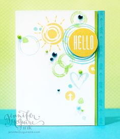 Sunshiny hello card by Jennifer McGuire #HeroArts #StampYourStory