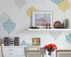 Wall Art Motif Stencil Fun Ornamental Flower for DIY Wall Decor. More Artistic Than Wall Decals and Cheaper Than Wallpaper :)