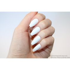 White coffin nails, Nail designs, Nail art, Nails, Stiletto nails,... ❤ liked on Polyvore featuring beauty products, nail care and nail treatments