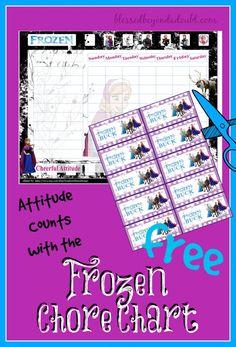 FREE frozen chore chart with incentive bucks for cheerful attitudes! Super cute!