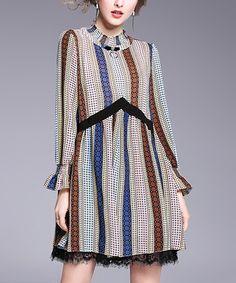 Another great find on #zulily! Blue & Brown Stripe Lace-Hem Shift Dress #zulilyfinds