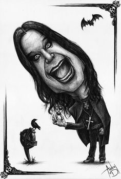 The prince of darkness! This was originally drawn with a blue pen, but I changed it to B/W in Photoshop. Celebrity Caricatures, Celebrity Drawings, Ozzy Osbourne, Metallica Art, Dark Gothic Art, Biker Tattoos, Heavy Metal Bands, Rock Legends, Rock Music