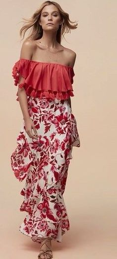 #summer #feminine #style  #outfitideas   Red + Tassels + Tapestry Floral