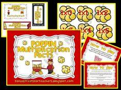 Poppin Multiplication Facts Math Class, Fun Math, Math Multiplication Games, Maths, Popcorn Theme, School Themes, School Ideas, Student Teaching, Teaching Ideas
