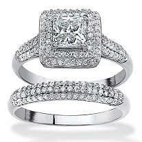 2 Piece 1.47 TCW Princess-Cut Cubic Zirconia Halo Bridal Ring Set in Platinum over Sterling Silver
