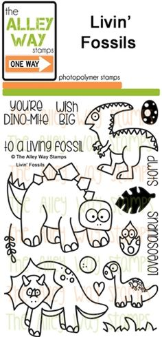 Livin' Fossil stamp set, TAWS, The Alley Way Stamp, Clear Stamps, cardmaking, Handmade cards, cards