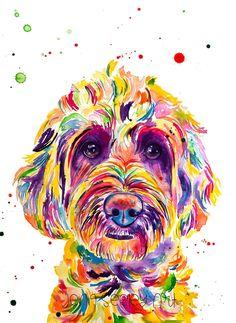 Jenn Seeley Art - Colorful Mini Goldendoodle