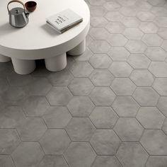 "Ava Gray Sabbia 8"" Hex Matte Porcelain Tile | Tilebar.com"