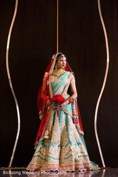 Gorgeous mint and red bridal lengha http://www.maharaniweddings.com/gallery/photo/88075