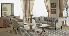 Devon Occasional Tables, Lyon Sofa, Dutch Accent Chair, Hudson Media Cabinet #OEF #orientexpressfurniture
