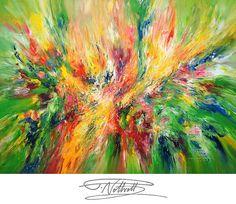 Abstraktes Acrylbild 145 cm x 105 cm. Grün Original Acryl Gemälde. Großes Bild. Großformat. Leinwand. Gerollt. Kunstmaler Peter Nottrott