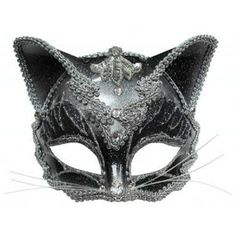 Raven Masquerade Mask | Jewelled Cat mask with headband or ribbons
