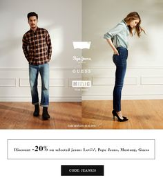 -20% on selected jeans Code: JEANS20 Code valid until 13.10.2014 #brandpl #brand #jeans #levis #guess #pepejeans #mustang #onlinestore #shopnow