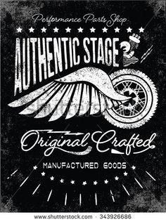 Typography Fotos, imagens e fotografias Stock | Shutterstock Typography Images, Vintage Typography, Motorcycle Posters, Motorcycle Art, Shirt Print Design, Shirt Designs, Vintage Posters, Vintage Art, School Signage
