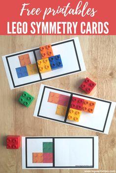 Free LEGO symmetry cards for kids Preschool Math, Math Classroom, Kindergarten Math, Teaching Math, Symmetry Activities, Lego Activities, Preschool Activities, Visual Perceptual Activities, Lego Games