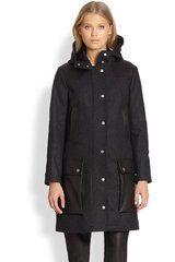 Rag & Bone Beacon Hooded Wool Leather Coat in Gray (CHARCOAL) - Lyst
