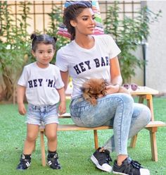 @LunasAngel♡ Mother Daughter Matching Outfits, Mommy And Me Outfits, Matching Family Outfits, Girl Outfits, Matching Clothes, Matching Shirts, Mother And Baby, Mom And Baby, Outfits Madre E Hija