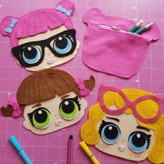 62 Ideas for sewing bags party Doll Crafts, Diy Doll, Sewing Crafts, Sewing Projects, Lol Doll Cake, Doll Party, Party Party, Ideas Party, Felt Quiet Books