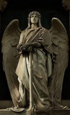 The Angelic Realm: Archangel Michael statue. Cemetery Angels, Cemetery Statues, Cemetery Art, Angels Among Us, Angels And Demons, Chef D Oeuvre, Oeuvre D'art, Ange Demon, I Believe In Angels