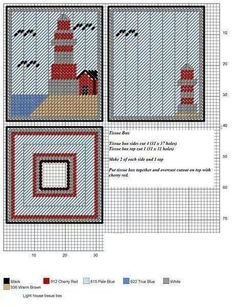 LIGHTHOUSE tissue box cover Plastic Canvas Coasters, Plastic Canvas Ornaments, Plastic Canvas Tissue Boxes, Plastic Canvas Christmas, Plastic Canvas Crafts, Plastic Canvas Patterns, Tissue Box Holder, Tissue Box Covers, Needlepoint Patterns