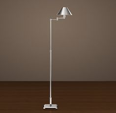 Candlestick Swing-Arm Floor Lamp Polished Nickel with Metal Shade