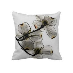 White Floral Throw Pillow - http://zazzle.com/uniqueartistgifts