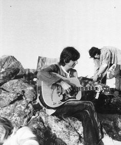 Keith, Gram Parsons, and Anita Pallenberg at the Joshua Tree National Park, California, 1969