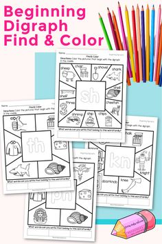 These Beginning Digraph Find & Color Worksheets will give your children practice with words beginning with consonant digraphs. Toddler Learning Activities, Phonics Activities, Educational Activities, Pre Kindergarten, Kindergarten Worksheets, Consonant Digraphs, Phonics Sounds, Beginning Reading, Find Color