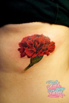 What does carnation tattoo mean? We have carnation tattoo ideas, designs, symbolism and we explain the meaning behind the tattoo. Carnation Flower Tattoo, Birth Flower Tattoos, Red Carnation, Floral Tattoos, Family Tattoos, New Tattoos, Cool Tattoos, Tatoos, Cover Tattoo