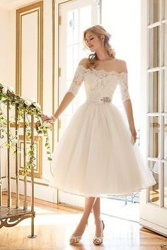 New Tea Length Off Shoulder Wedding Dress Bridal Gown Custom Size 2 4 6 8 10 12+ in Clothing, Shoes & Accessories, Wedding & Formal Occasion, Wedding Dresses | eBay