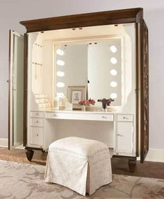 A vanity in an armoire