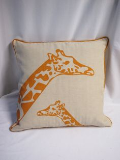 Animal print Cotton Khaki Brown Pillow Cushion,  Perfect Gift, Cottage chic colours, giraffes