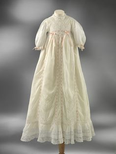Christening gown and petticoat - Linen trimmed with embroidery, lace, and ribbon - England - 1900-1920