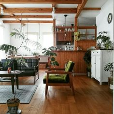 bibi.karuさんの、Overview,観葉植物,ナチュラル,アンティーク,カフェ風,ドライフラワー,無垢材の床,No Caffeine No…