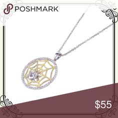 Spider web pendant necklace. This one has BITE! This one has BITE! .925 Sterling Silver, Gold & Rhodium Plated Clear Cubic Zirconia Spider Web Pendant Necklace 18 Inches Sea of Diamonds Jewelry Necklaces