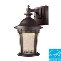 hampton bay basilica collection mystic bronze outdoor led wall lantern