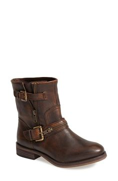 Free shipping and returns on Hinge 'Compadre' Leather Moto Boot (Women) at Nordstrom.com. Zipper and buckle embellishments amplify the biker-chic attitude of a sturdy ankle boot shaped from lightly distressed, textured leather.