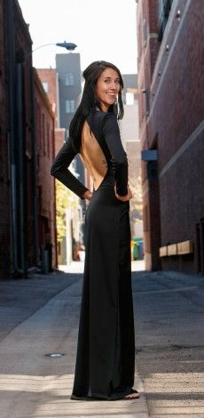 Lizzie, cut out back jersey gown, Brooks Luby designer, Colorado based