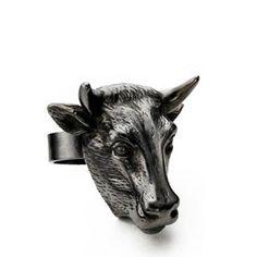 Large Rhodium Bull Ring - www.emmafranklin.com